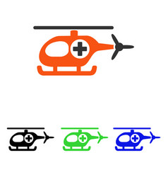 Medical helicopter flat icon vector