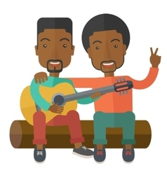 Men playing guitar vector