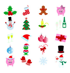 merry christmas and happy new year icons vector image