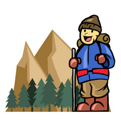 Mount climber boy vector