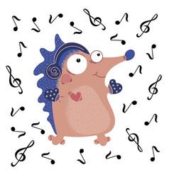 Musical hedgehog funny cartoon animal set vector