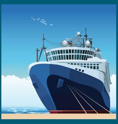 Ocean liner at pier vector