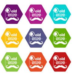 old gentlemen icons set 9 vector image