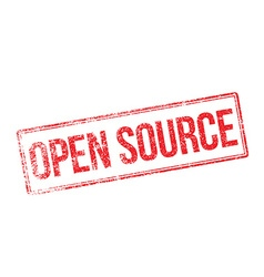 Open Source red rubber stamp on white vector