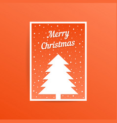 orange merry christmas card with fir tree vector image