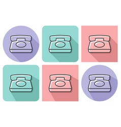 outlined icon of retro phone with parallel and vector image