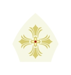 Papal tiara hat with cross icon flat style vector image