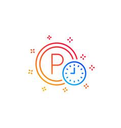 Parking time line icon car park clock sign vector