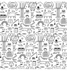 Pattern with doodle lovely cat background vector