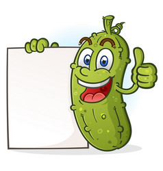 pickle cartoon character holding poster sign vector image
