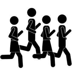 pictogram men jogging in marathon vector image