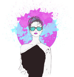 pink fantasies swag girl vector image