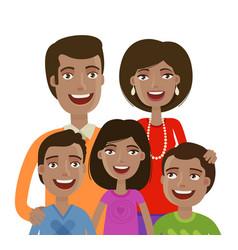 Portrait happy cheerful family people vector
