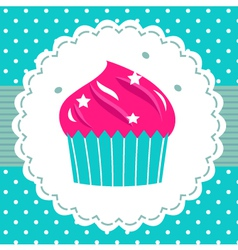Retro party cupcake template vector