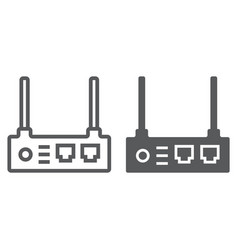 router line and glyph icon internet and vector image