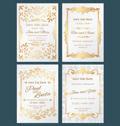 Save the date luxury wedding invitation vector