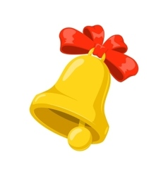 School bell with red bow vector image