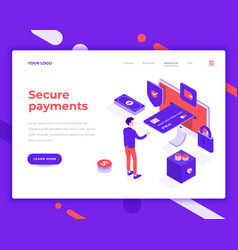 secure payment people and interact with card vector image