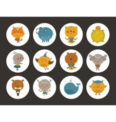 set animal avatars vector image