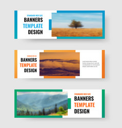 set horizontal web banners with rectangle vector image