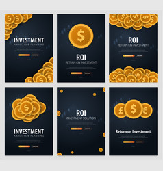 Set of return on investment roi market and vector