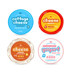 set of template label for cheese and yogurt vector image