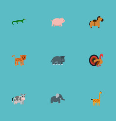 Set of zoo icons flat style symbols with horse vector