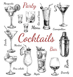 Set sketch cocktails and alcohol drinks hand drawn vector