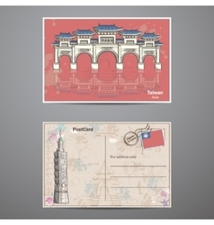set two sides a postcard with image taiwans vector image