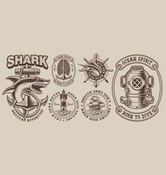 Set vintage nautical designs with a shark vector