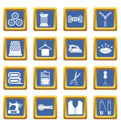 sewing icons set blue vector image