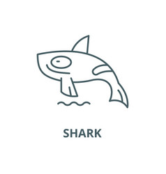 shark killer whale line icon linear vector image