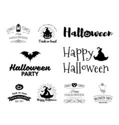 Smile Pumpkin Bat Spiderweb Witch HatHalloween vector image