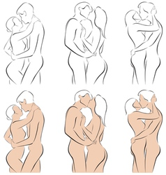 Stylized silhouettes of men and women hugging vector