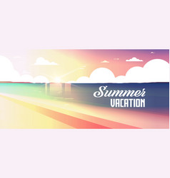 sunset beach view summer vacation seaside sea vector image