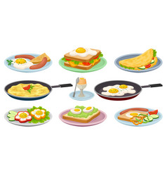 tasty dishes with eggs set fresh nutritious vector image
