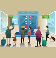 Travelers looking at departure board vector