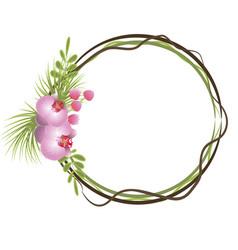 tropical frame floral summer leaf aloha design vector image