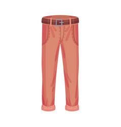 Trousers with pockets and belt as male clothing vector