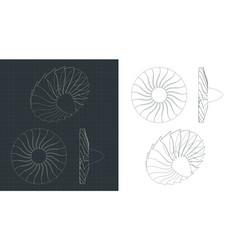 Turbine blades drawings vector