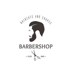vintage barbershop emblem hipster logotype vector image