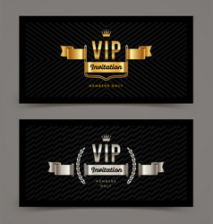 Vip golden and silver invitation template vector