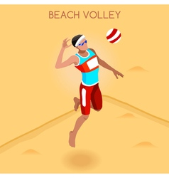 Volleyball Beach 2016 Summer Games Isometric 3D vector image
