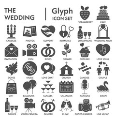 Wedding glyph signed icon set love symbols vector