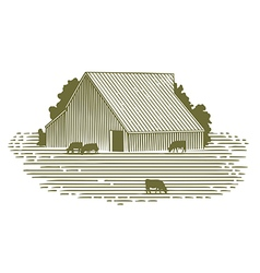 Woodcut barn and cattle vector