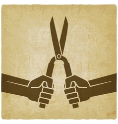 Worker hands with shears old background vector