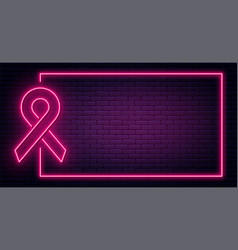 World cancer day february 4 red ribbon in neon vector