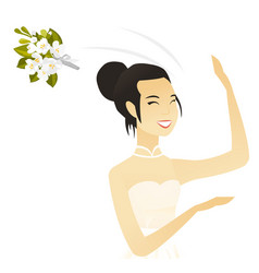Young asian bride tossing a bouquet of flowers vector
