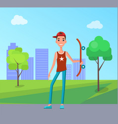 young skateboarder with skateboard in hand skater vector image