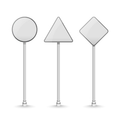 Blank white traffic road signs on white background vector image vector image